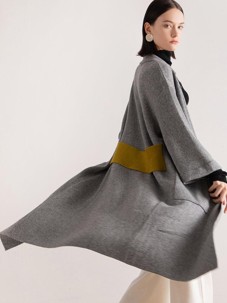 Color Block Shawl Collar Knitted Trench Coats