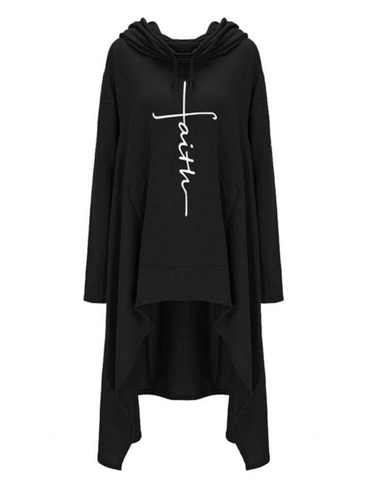 High Low Cape Embroidered Hooded Sweatshirt