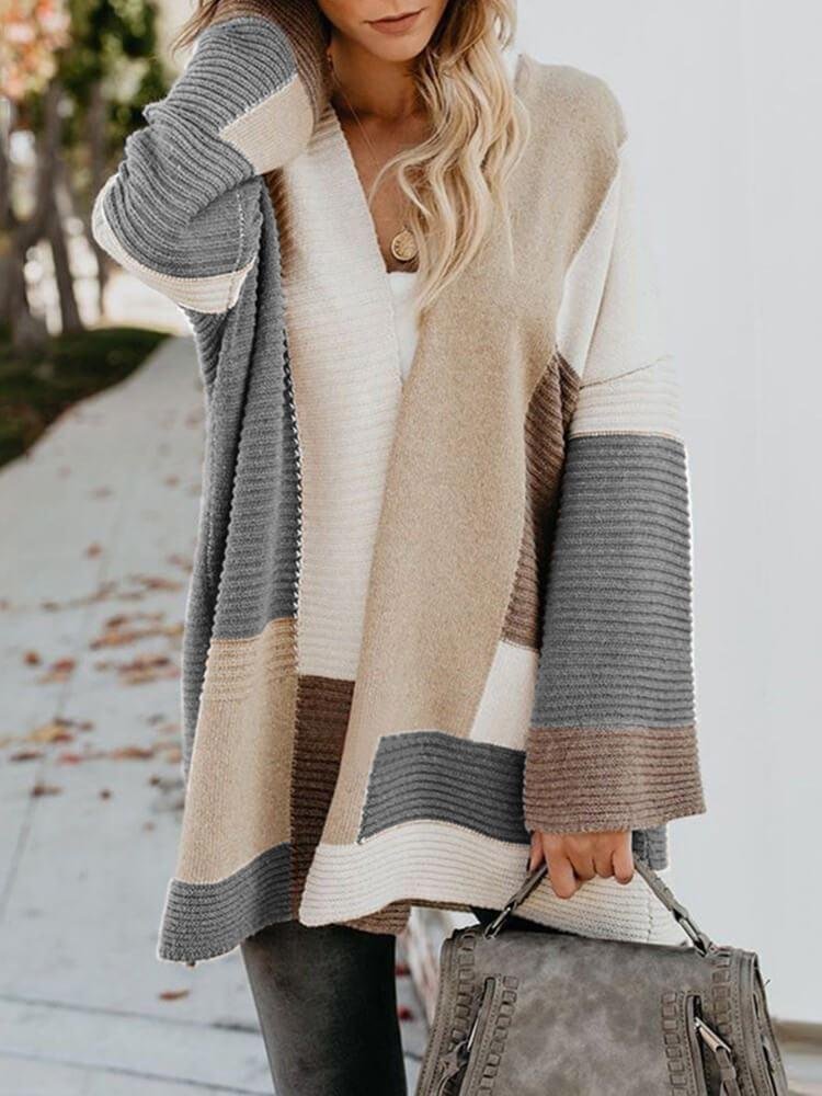 Long Sleeve Color Block Sweater Cardigans
