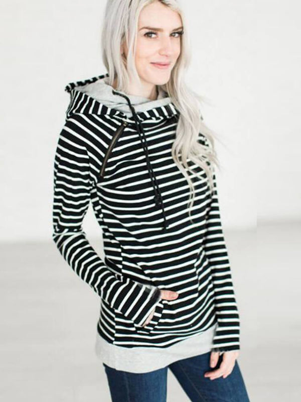 Stripe Casual Women Zipper Hoodies