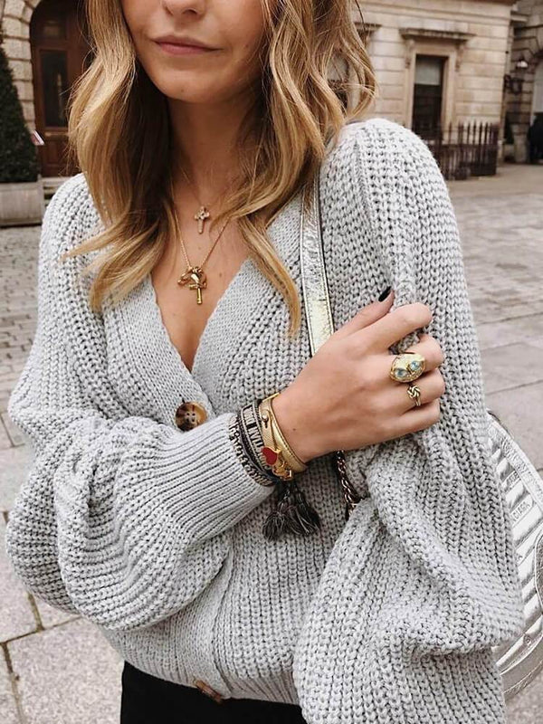 Women Long Sleeve Button Knitted Cardigans