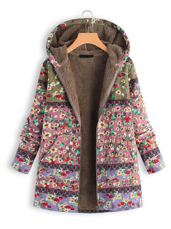 Women Floral Printed Winter Pocket Hooded Coat