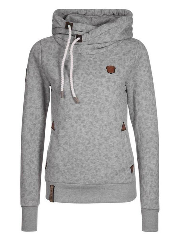 Printed Leopard Long Sleeve Sheath Hoodies