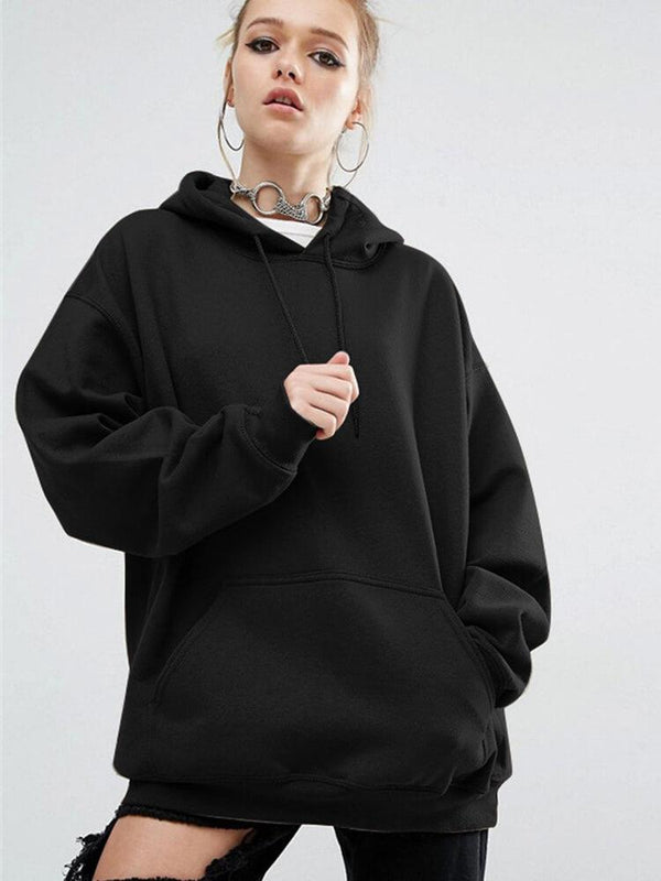 Solid Color Drawstring Sport Hoodies