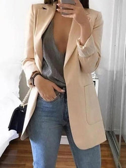 Solid Color Sheath Women Work Blazers