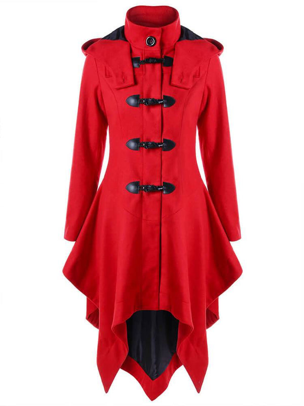 Red Asymmetrical A-line Trench Coats