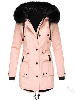 Slim-fit Thicken Faux Fur Collar Mountaineering Coats