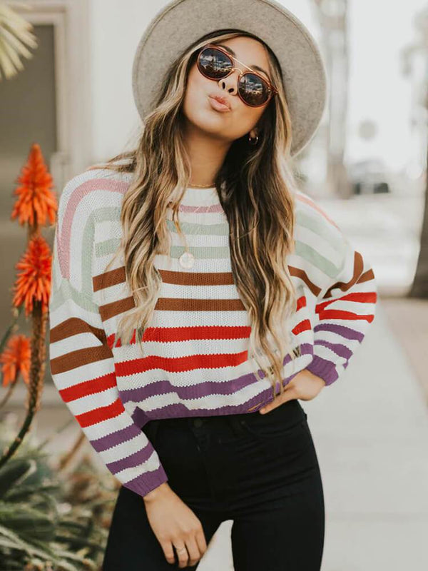 Women Stripe Crew Neck Sweater