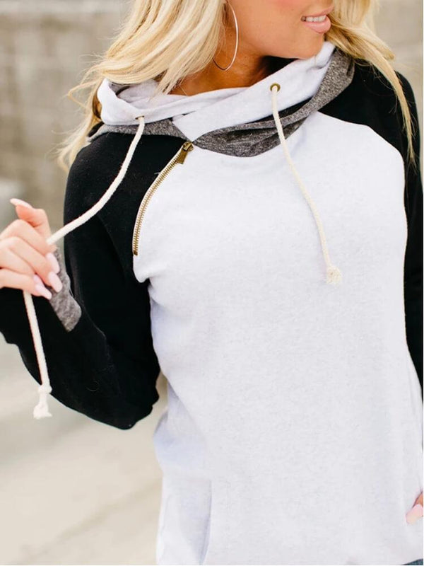 Drawstring Pocket Zipper Casual Daily Hoodie
