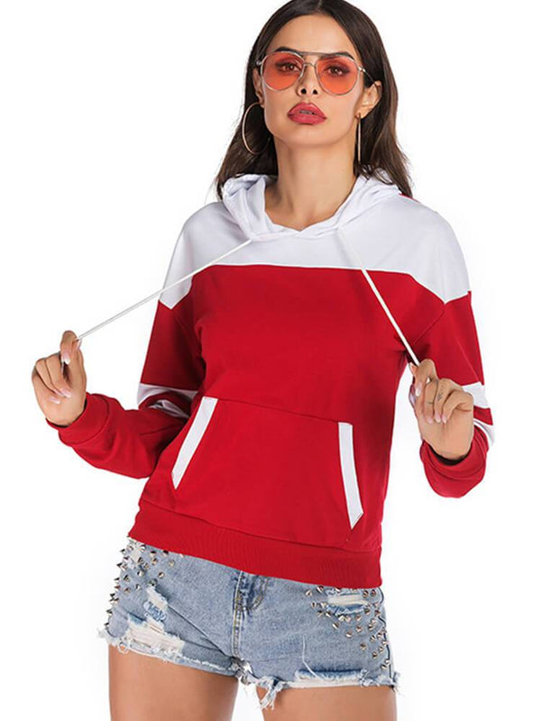 Color Block Pocket Drawstring Sport Hoodie
