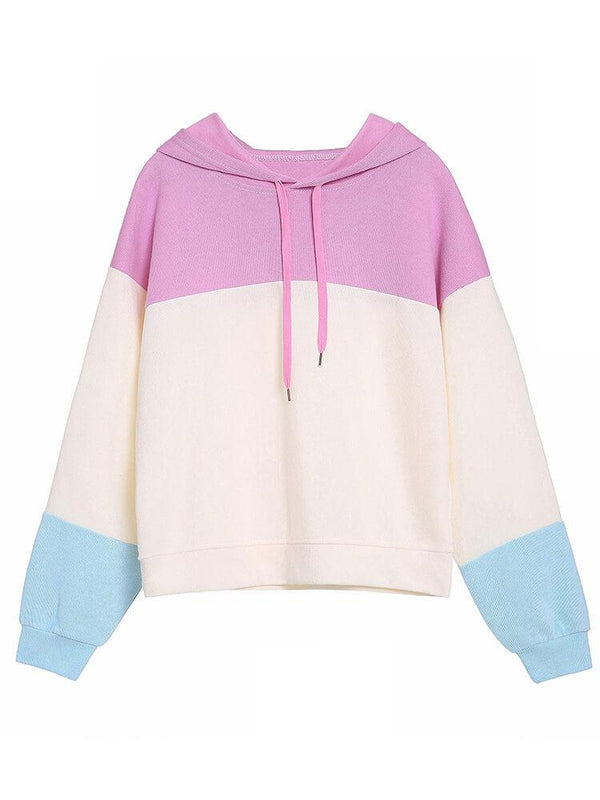 Color Block Casual Drawstring Hoodies