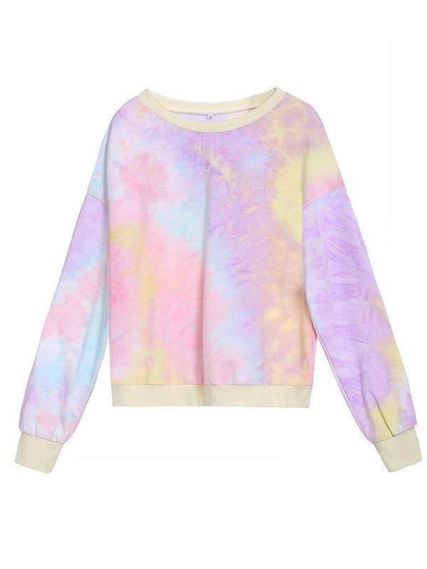 Tie-dyeing Crew Neck Sport Top