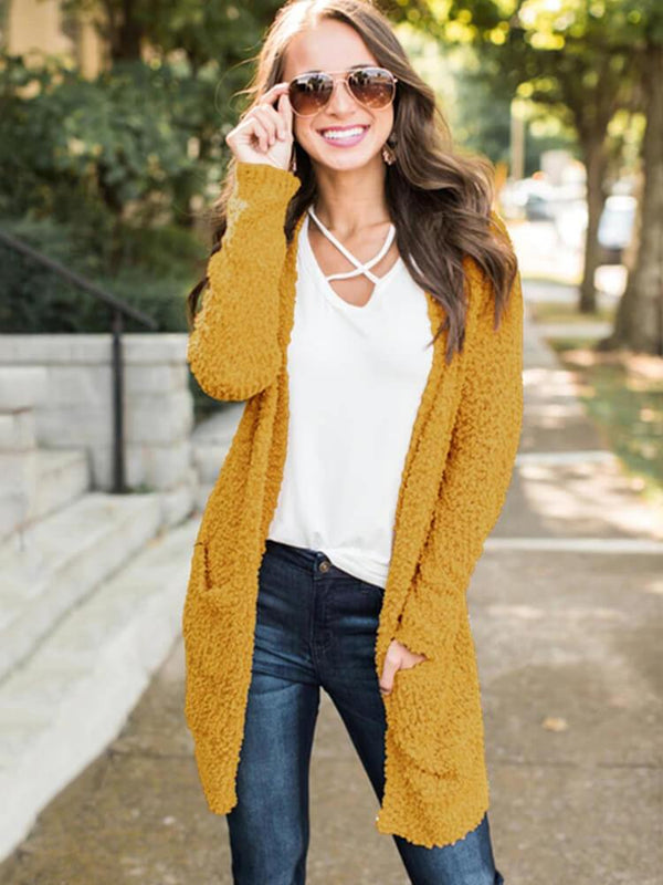 Long Sleeve Solid Color Pocket Cardigans