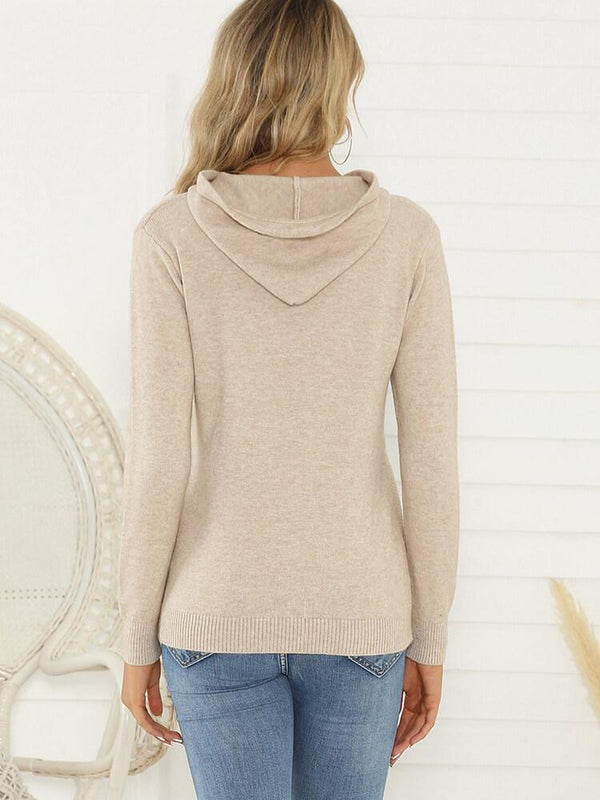 Sheath Drawstring Knitted Hoodies