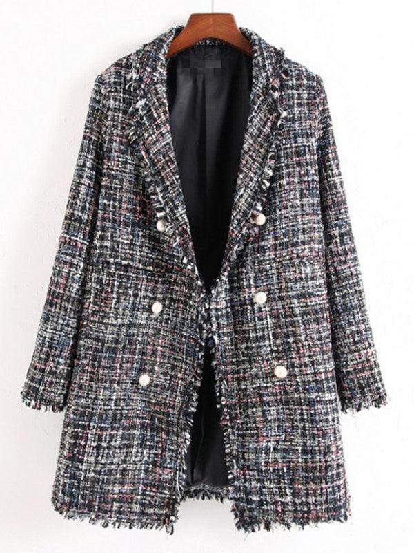 Imitation Pearls Long Sleeve Lapel Coat