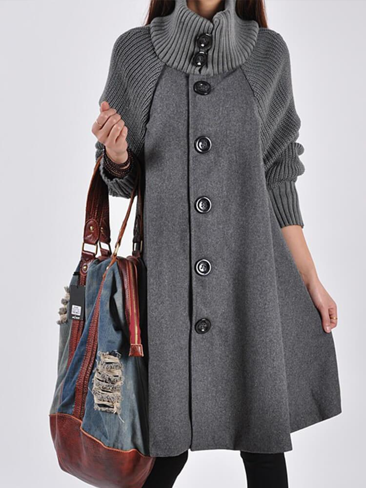 Solid Color Turtleneck Paneled Casual Trench Coats