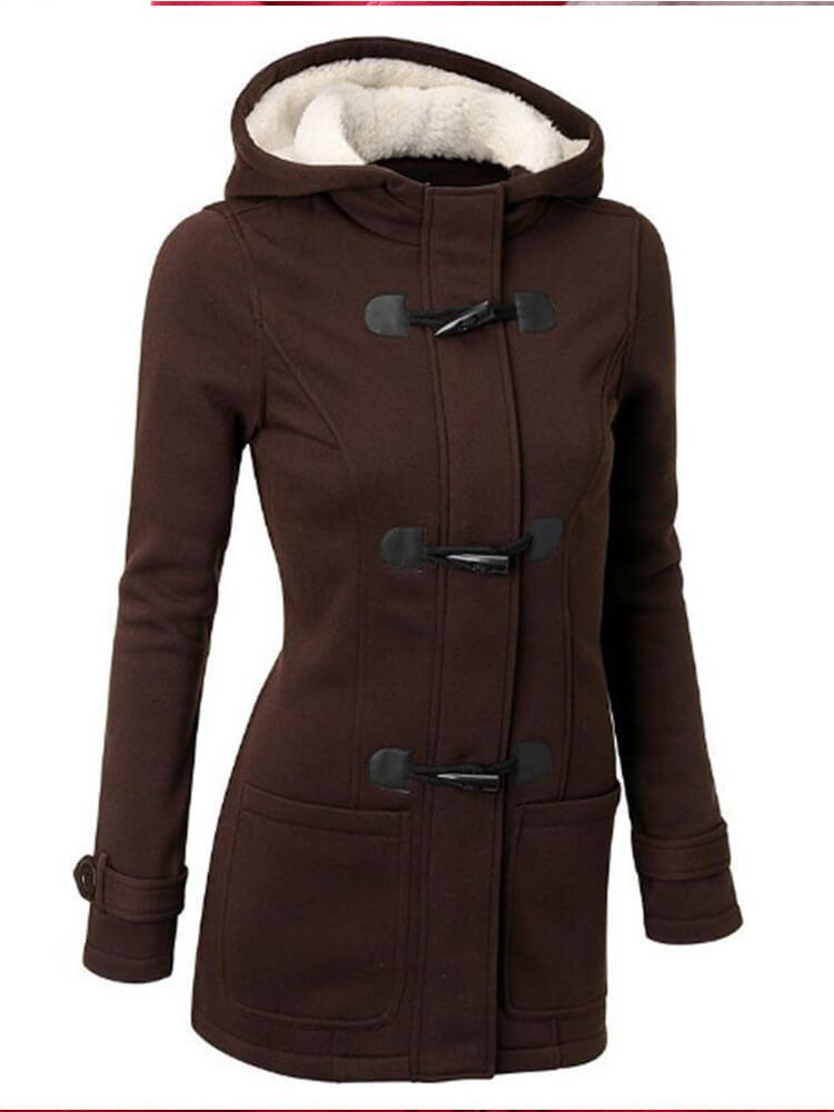 Pocket Horn Buckle Winter Hooded Coat