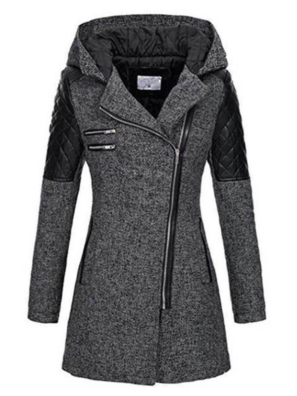 Women Zipper Hooded Trench Coats