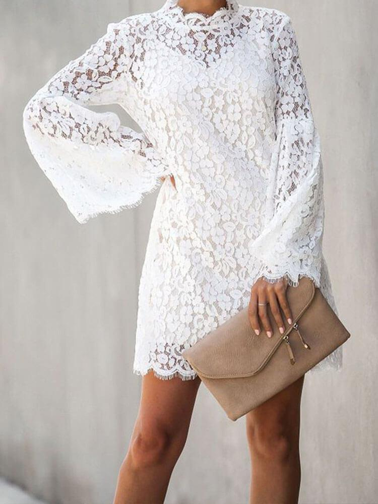 Sexy Lace Bell Sleeve Dress With Cami Two-piece Set