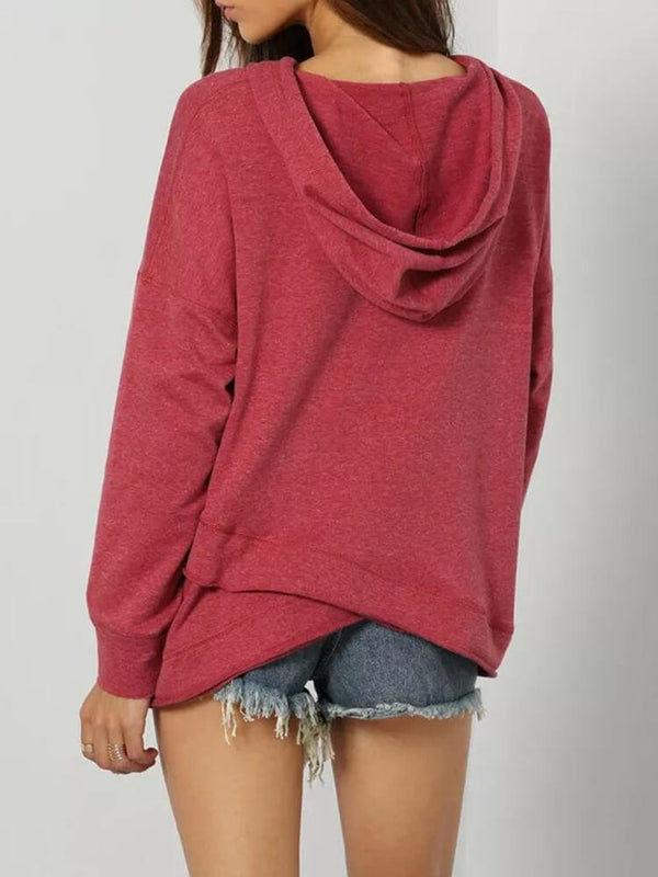 Asymmetrical Drawstring Casual Daily Hoodies