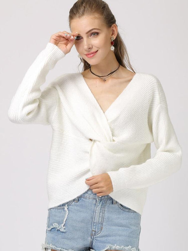 Knot Front V-neck White Sweater