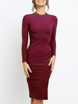 Sexy Bodycon Work Long Sleeve Knitted Midi Dress