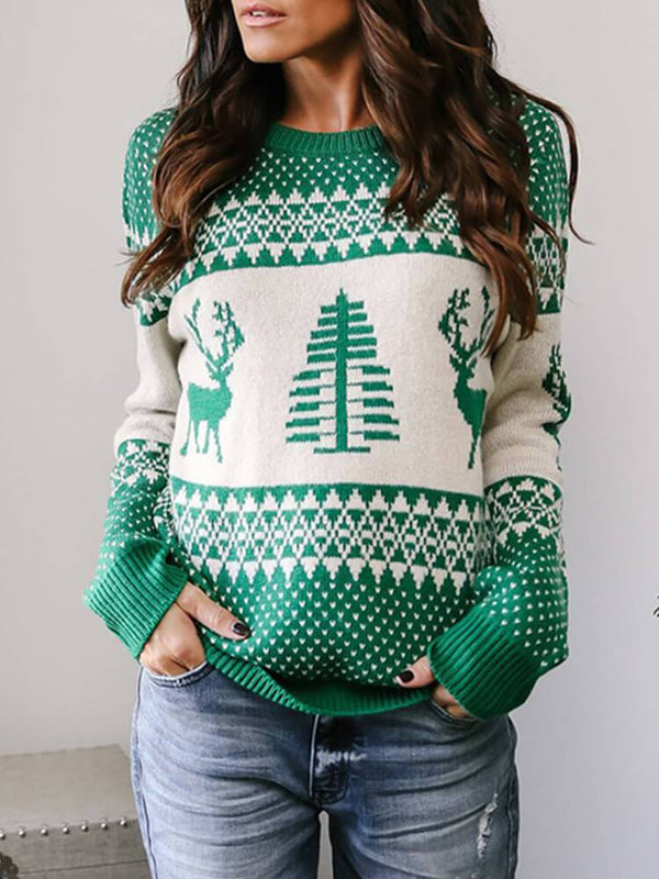 Green Christmas Elk Crew Neck Sweater