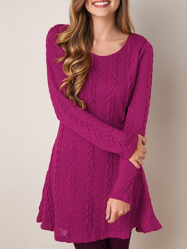 Long Sleeve Knitted Daily Sweater Dress
