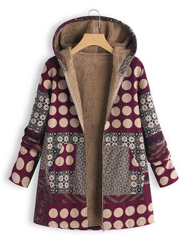 Polka Dots Zipper Hooded Coat