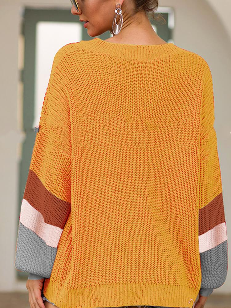 V Neck Long Sleeve Knitted Sweater