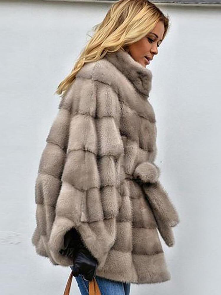 Stand Collar Faux Fur Women's Winter Coats
