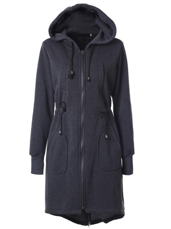 Mid-length Drawstring Hooded Sweatshirt Coats