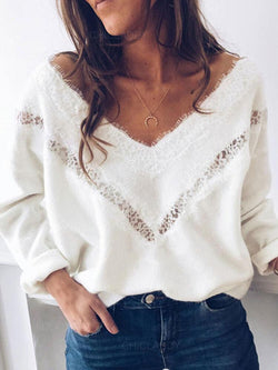Solid Lace V-neck Long Sleeve Casual Elegant Sweater
