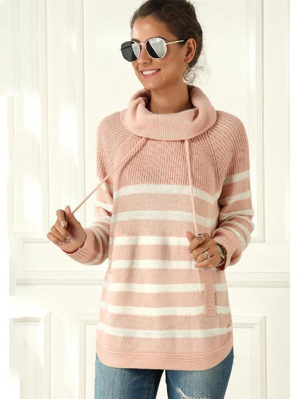 Turtleneck Color Block Stripe Sweater