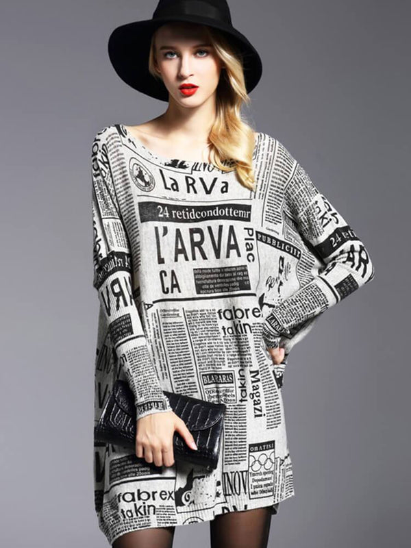 Printed Knit Casual Crew Neck Tunics