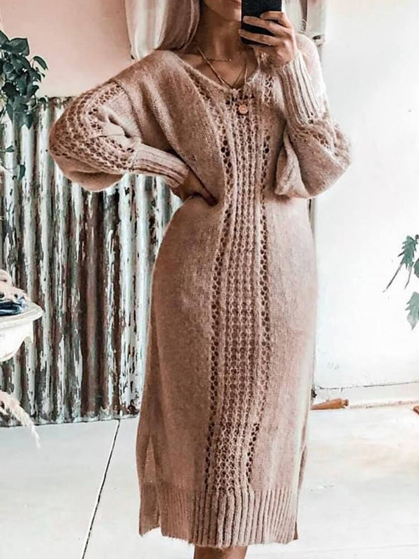 Work Long Sleeve V Neck Sweater Dress