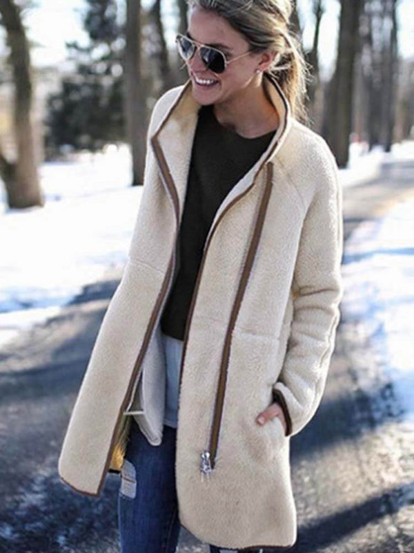 White Zipper Cozy Winter Jacket