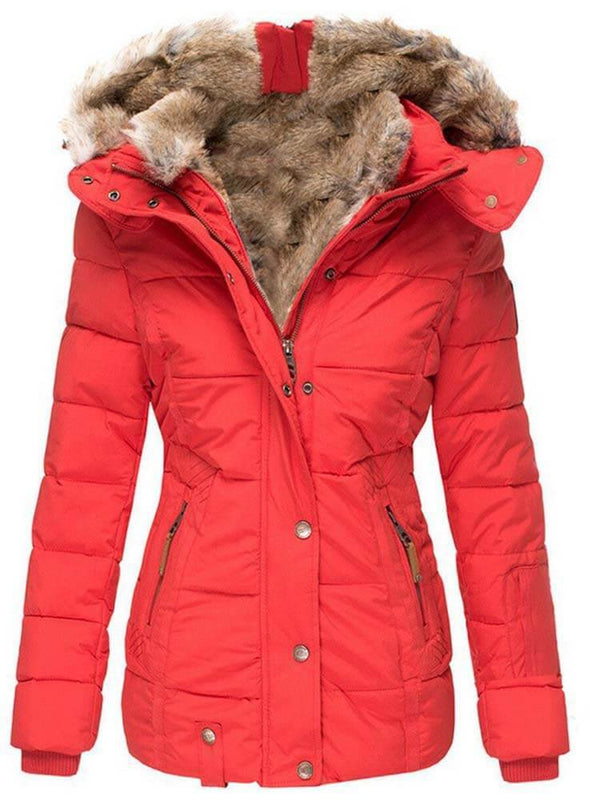 Casual Women's Faux Fur Collar Slim Solid Color Coats