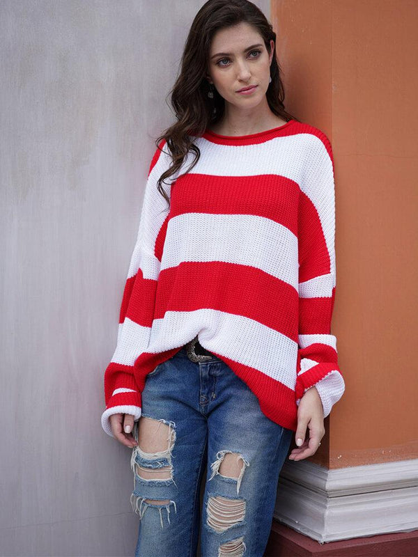 Color Block Stripe Women Sweater