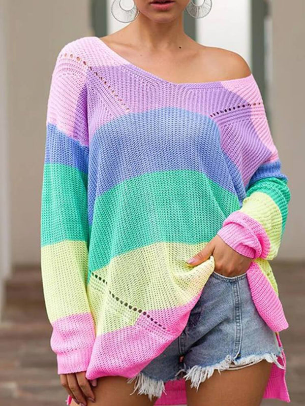 Long Sleeve Color Block Casual Sweater