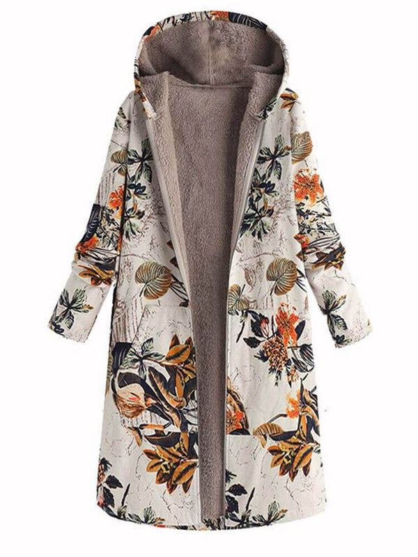 Floral Print Long Sleeve Mid-length Hooded Vintage Coats