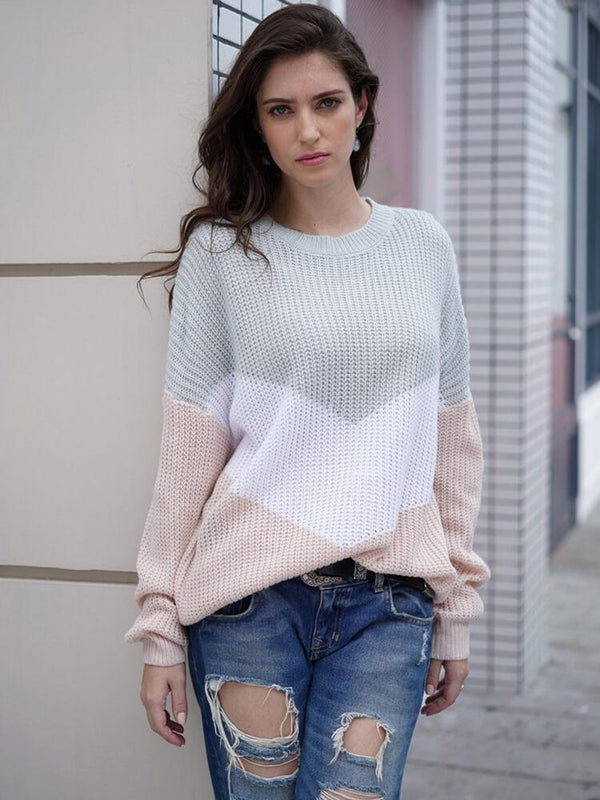 Long Sleeve Crew Neck Color Block Sweaters