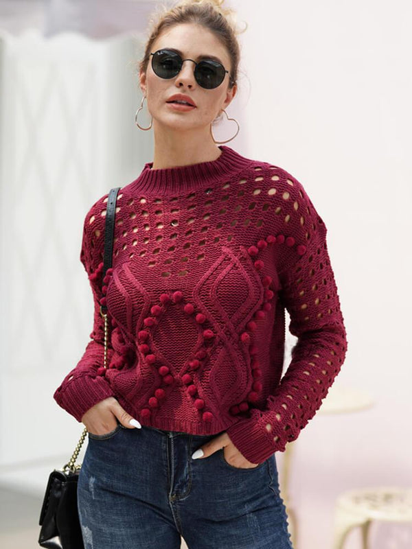 Long Sleeve Crew Neck Hollow-out Sweater