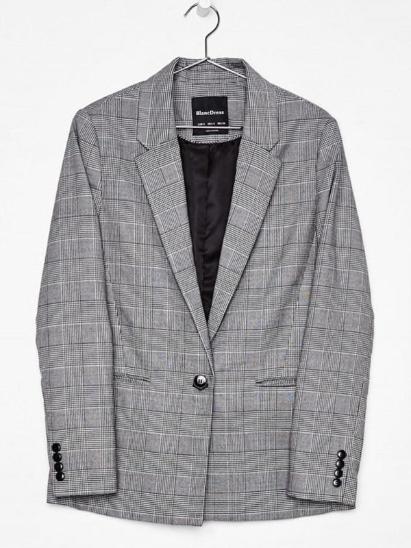 Gray Long Sleeve Lapel Plaid Blazers