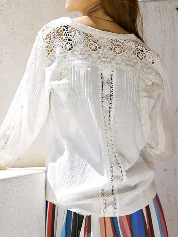 Boho Long Sleeve Beach Cover-up Blouse