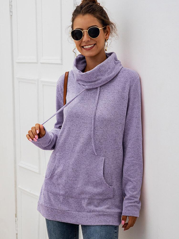 Turtleneck Long Sleeve Women Hoodies