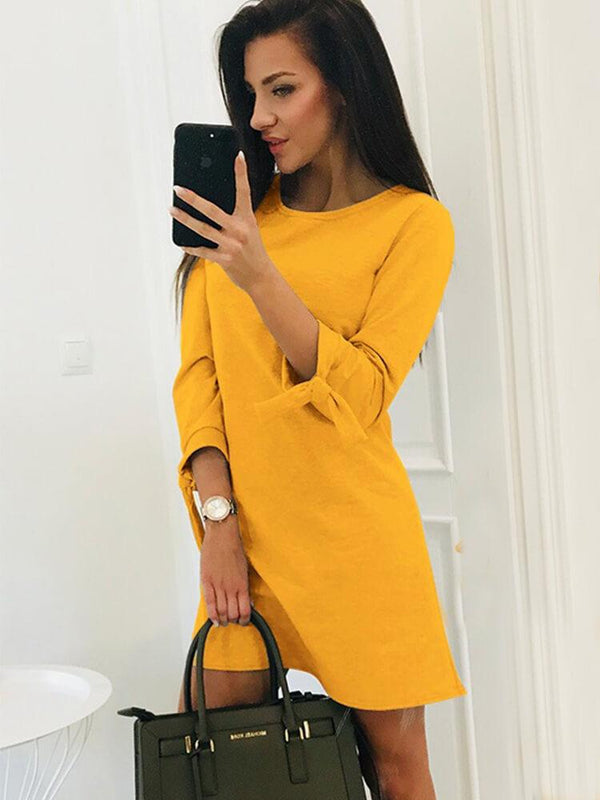 Casual Solid Color Crew Neck Mini Dress
