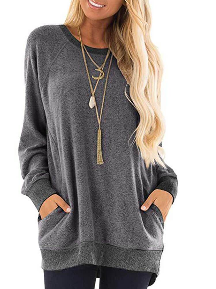 Casual Long Sleeve Shift Sweatshirts