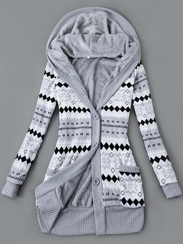 Printed Color Block Hooded Long Sleeve Knit Hoodie