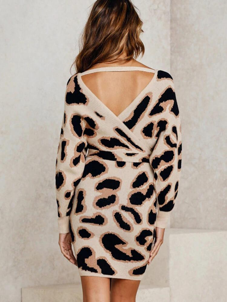 Sexy Leopard V-neck Backless Mini Dress